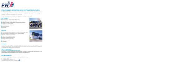 Stellenangebot Produktionshelfer für die PVF GmbH