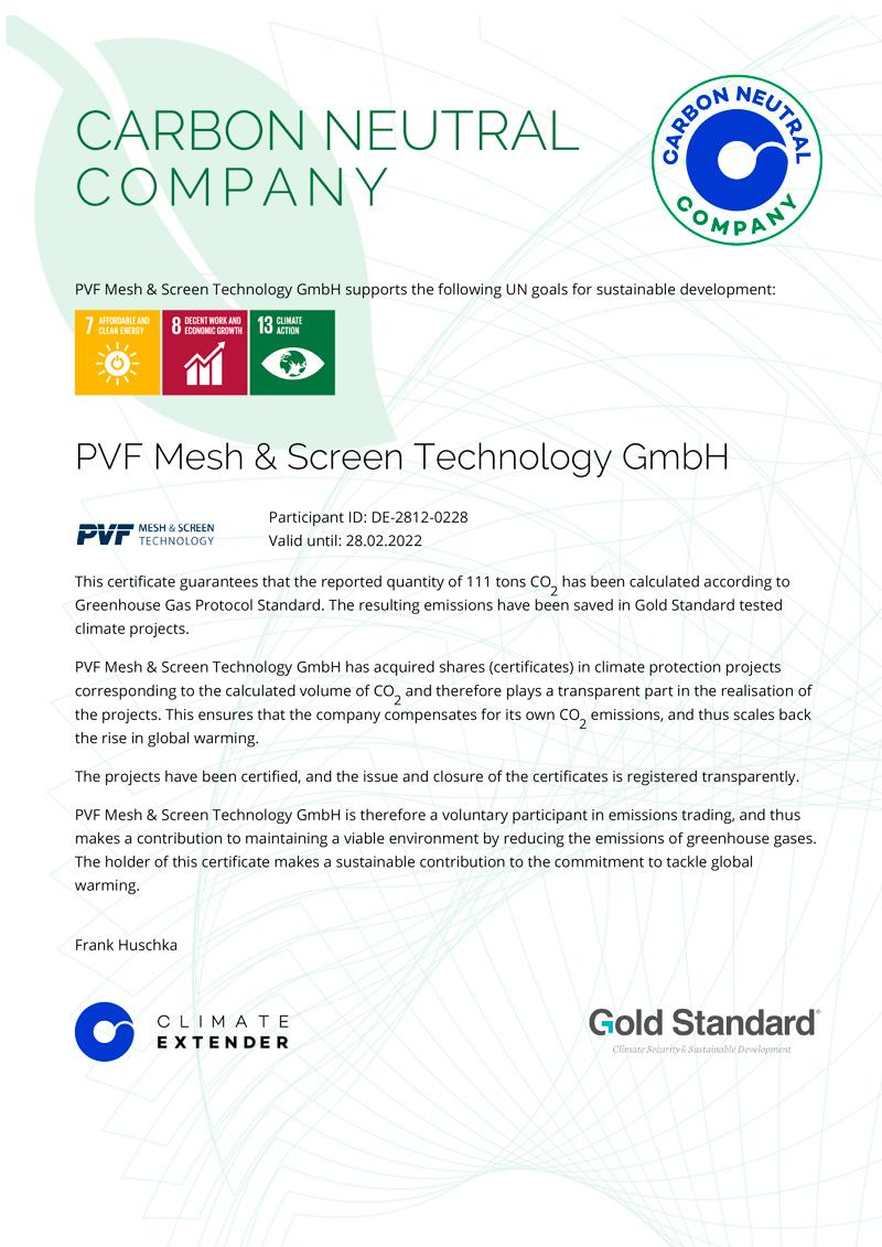 PVF Mesh & Screen Technology GmbH | Certificate Carbon Neutral Company