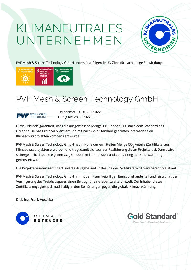 PVF Mesh & Screen Technology GmbH | Zertifikat Klimaneutrales Unternehmen